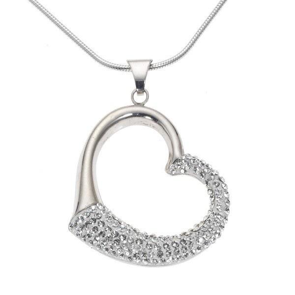 Crystelle - Collier/Behang 42+5cm, Herz mit Swarovski Kristallen weiß