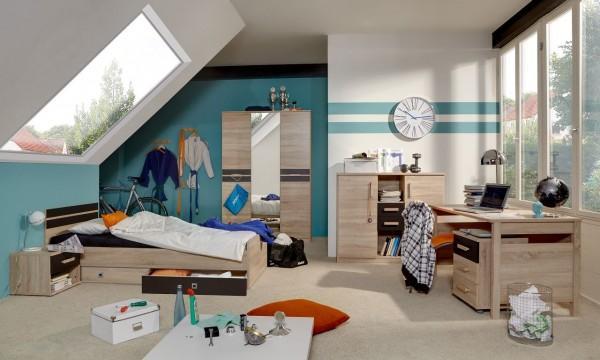 """Kinderzimmer Set """"Boobo I"""",Jugendzimmer 7-tlg, Kleiderschrank, Bett, Schreibtisch, Nachtisch, Highboard, Eiche sägerau"""
