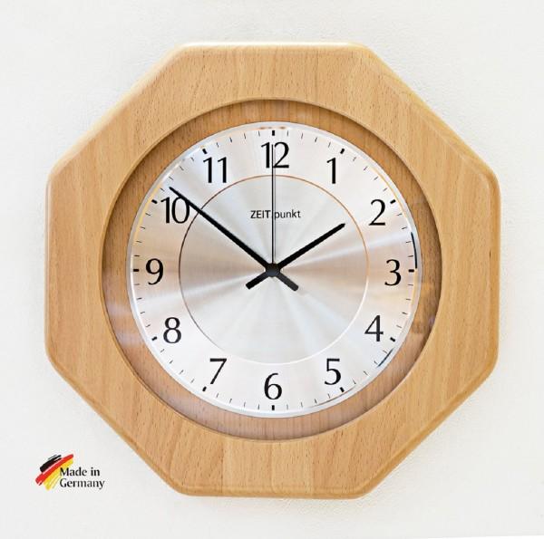 """Wanduhr Funkuhr """"Lynn"""", Glas, Küche, Wohnzimmer, Diele/Flur, 29x29x6 cm, in Buche"""
