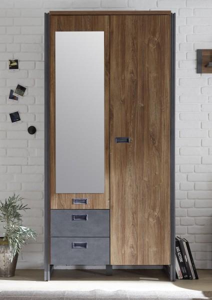 """Kleiderschrank """"Java"""" Stirling Oak Nachbildung, 99x202x60 cm"""