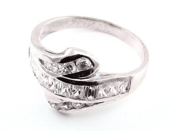 925 Sterling Silber Ring in Schlangenform mit Strass Elementen Gr. 19