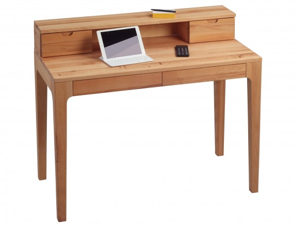 """Schreibtisch """"Holger 2"""", massive Wildeiche, 2 Schubladen, 110x76/91x55cm"""