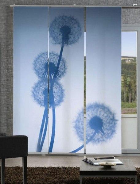 Emotion Textiles Schiebevorhang Flächenvorhang Löwenzahnfoto 3-er Set incl. Montagesatz