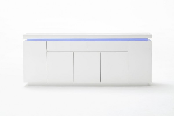 "Sideboard ""Cardoo High Five"" Hochglanz weiss, 200x81x40cm inkl. LED Beleuchtung"
