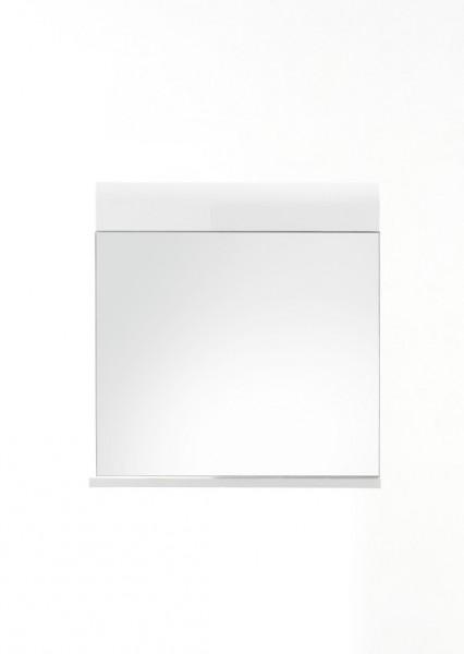"""Wandspiegel """"Lutz"""", weiß/weiß Hochglanz, Spiegel mit Ablage, 60 x 55 x 10 cm"""