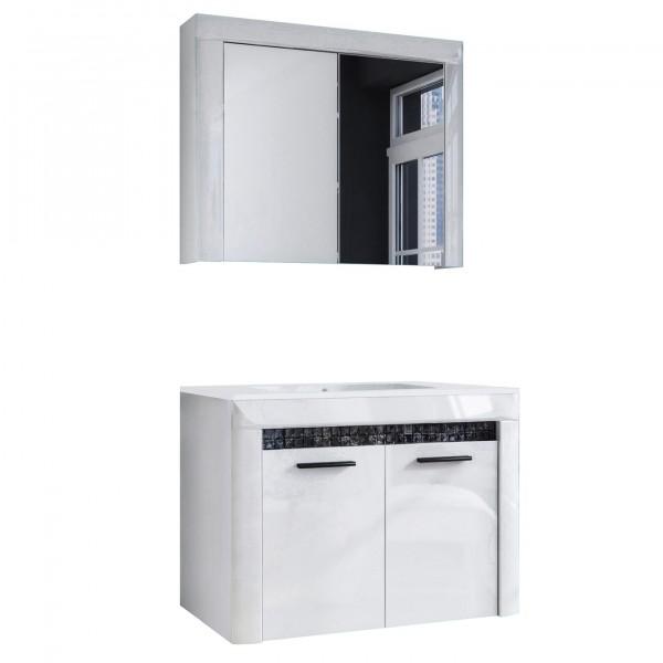 """Forest Dream A9MS00V2S01 Badezimmer-Set 2-teilig Mit Waschbecken Mosaic V2S-01 2er Set Waschbeckenunterschrank mit Spiegelschrank """"Diamond"""""""