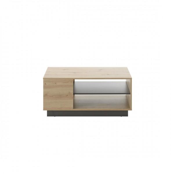 """Couchtisch """"Helene"""" Eiche Artisan Dekor mit 2x Ablageböden 100x46x60cm Wohnzimmertisch Tisch"""