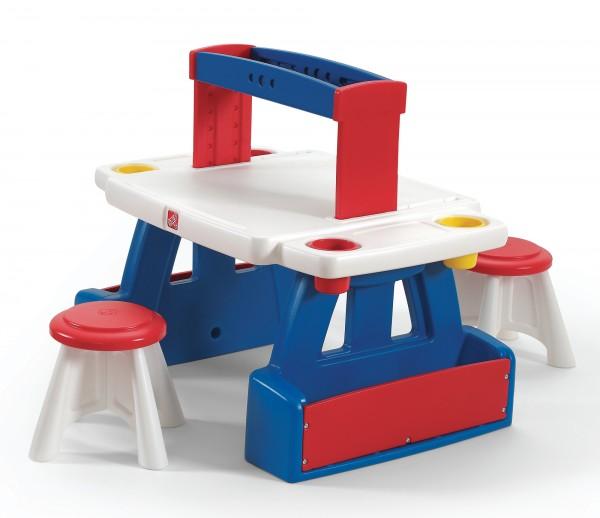 """Kinderschreibtisch """"Marko"""" für Zwei aus Kunststoff in blau rot weiß 67,3x99,1x81,3cm"""
