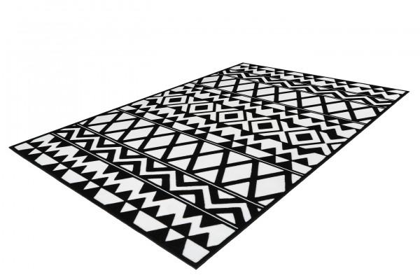 """Teppich """"Mona"""" schwarz weiß Jute Polypropylen Kurzflorteppich Flachflorteppich Wohnteppich"""