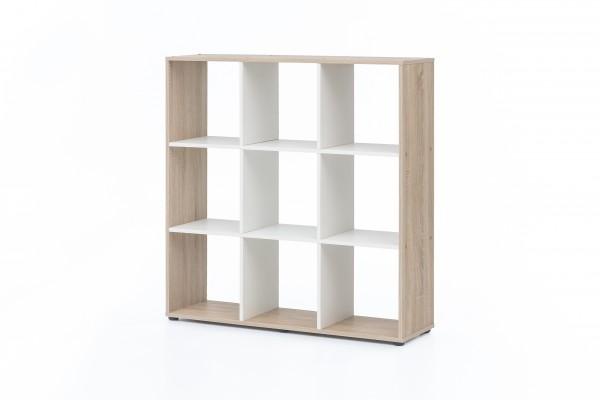"""Regal / Raumteiler """"Amadeus"""", Eiche sägerau/weiß, 104,5 x 107,5 x 29 cm, 9 Fächer, Wohnzimmer, Regal"""