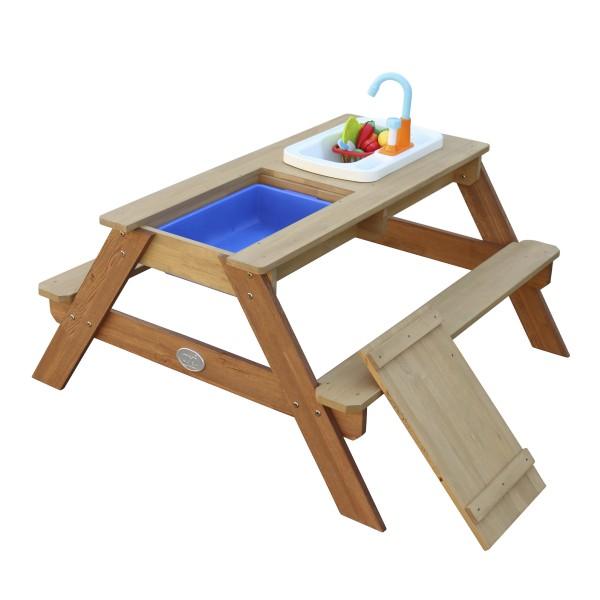 """Sand- und Wasserspieltisch """"Mellis"""" braun Holz 95 x 98 x 50 cm inkl. Spielküche Gartentisch"""