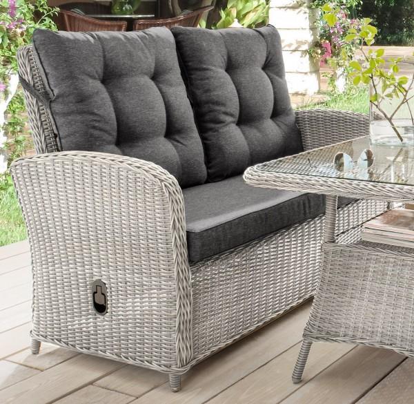 """2er Sofa """"Pearl"""", vintage weiß, 125 x 74 x 99 cm, mit Polster anthrazit, Gartensofa, Garten, Balkon"""