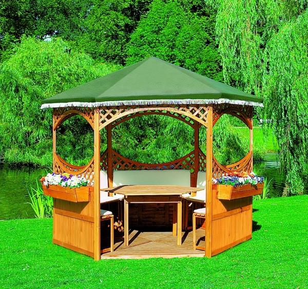 "Pavillon ""Marion III"", Holz/PE-Gewebe, 278x278cm, mit Möbeln, Gartenpavillon, Pavillonset, Garten"