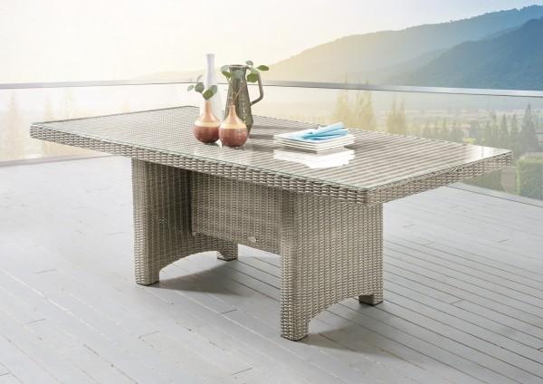 """Tisch """"Honey"""", vintage weiß, rechteckig, 200 x 100 x 75 cm, Glasplatte, Gartentisch, Balkon, Garten"""