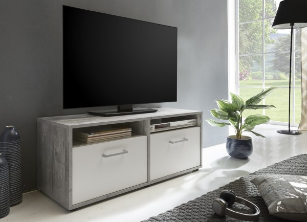 "TV-Lowboard ""Frank 3"", Beton/weiß, 95 x 40 x 37 cm, 2 Klappen, 2 offene Fächer"