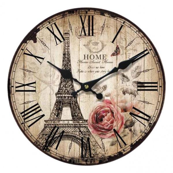 "Wanduhr ""French Roses"" aus Holz 34x34x4 cm"