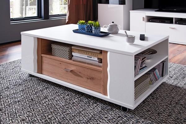 """Couchtisch """"Luzie"""" Tisch, weiß hochglanz/ weiß matt, 115x45x70cm, Wohnzimmertisch"""