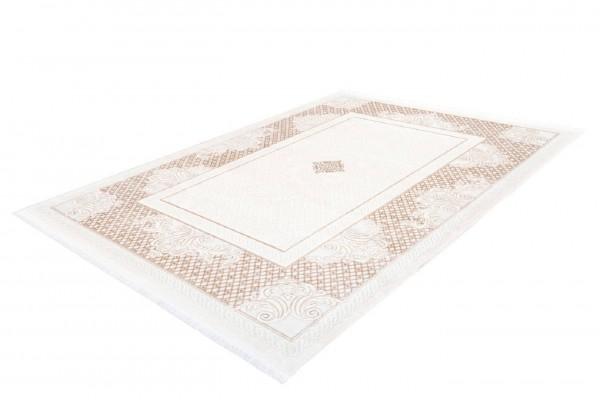 """Teppich """"Janett"""" beige mit Fransen 80x150cm 120x170cm 80x300cm 200x290cm Kurzflorteppich"""