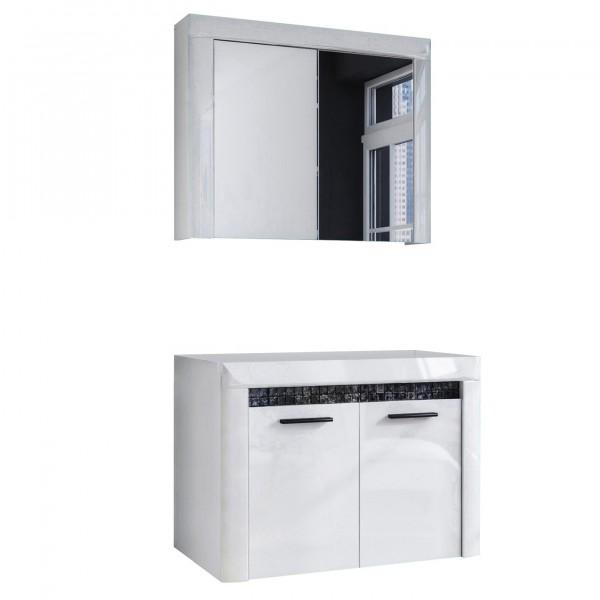 """Forest Dream A9MS00V201 Badezimmer-Set 2-teilig Mosaic V2-01 2er Set Waschbeckenunterschrank und Spiegelschrank """"Diamond"""" 79,8x178,4x46cm (B/H/T)"""
