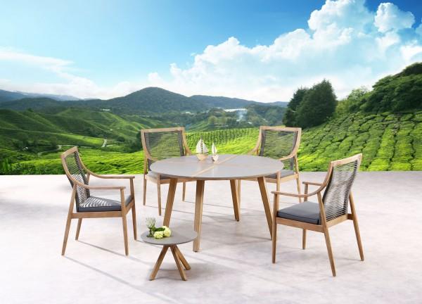 """Gartengruppe """"Neo"""" 6-tlg. Grandis/grau Tisch rund 140cm Beistelltisch 4xSessel Sitzgruppe Garten"""