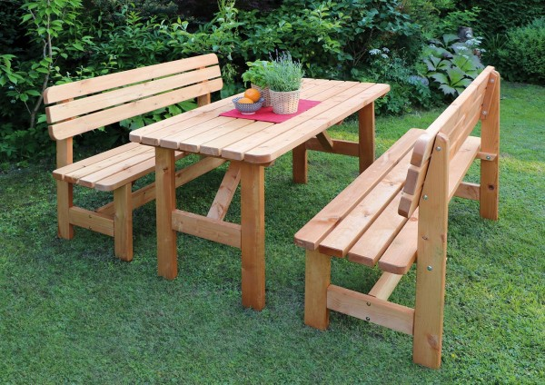 "Holz-Garnitur ""Regina"", 3er-Set, honigbraun, Nadelholz, Gartenset, Gartensitzset, Tisch, Bänke"