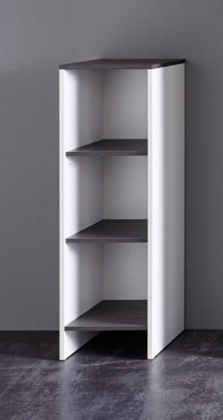 "Regal ""Melli"", weiß Melamin/Rauchsilber, Badezimmerschrank, 32 x 103 x 28 cm"