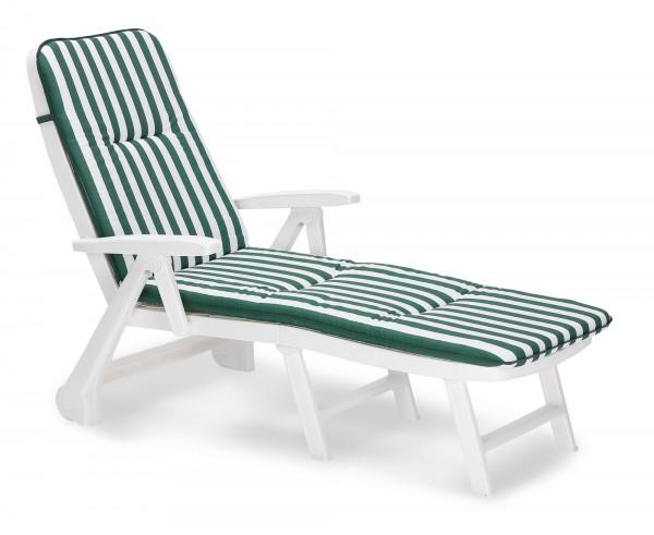 """Rollliege """"Phil"""" inkl. Polsterauflage 72x189x97cm Kunststoff weiß/grün-gestreift Gartenliege Outdoor"""