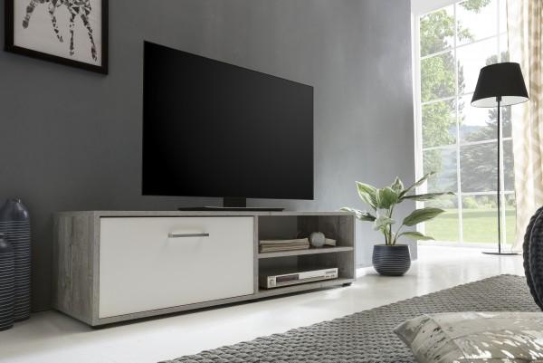 "TV-Lowboard ""Frank 1"", Beton/weiß, 120 x 34 x 37 cm, 1 Klappe, 2 offene Fächer"