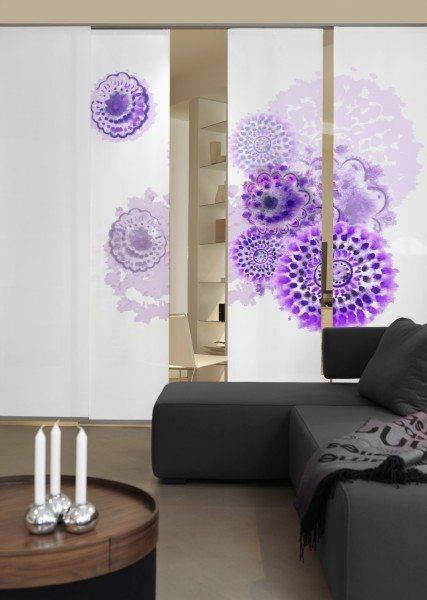 Emotion Textiles Flächenvorhang Schiebevorhang Batikblume lila Weiß-lila/Flieder/beere 3er