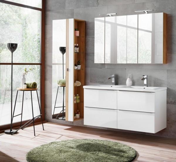 "Badmöbelset ""Melbourne IX"" weiß 6-teilig, Badezimmerset, Badezimmer inkl. Beleuchtung modern"