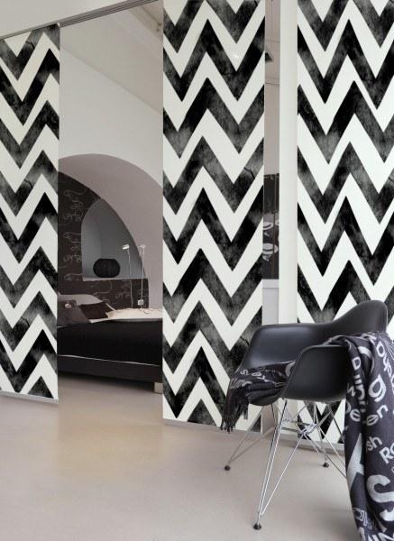 3-teiliger Flächen-Schiebevorhang Emotion Textiles Zig-zag Batik black 180 x 260 cm
