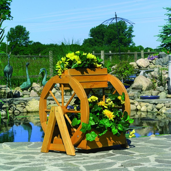 "Blumenrad ""Svenja"", Kiefer, honigbraun, 59 x 55 x 63 cm, Blumenpflanzkasten, Gartendeko, Garten"