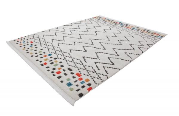 """Hochflorteppich """"Kristin"""" Muster mit Fransen 80x150cm 120x170cm 160x230 200x290cm Teppich"""
