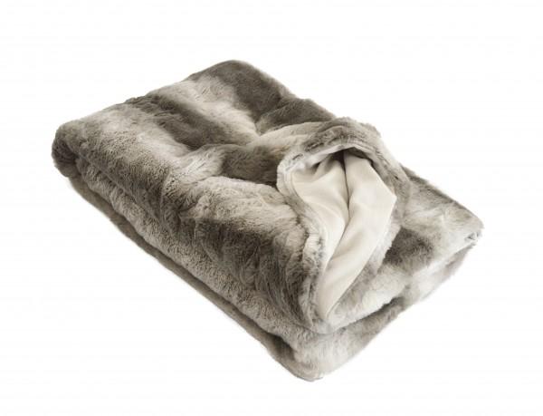 "Wohndecke ""Blanca"" grau Polyester Microfaser-Fleece Tagesdecke Kuscheledcke Zudecke"