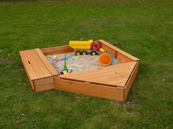 """Sandkasten """"Sandy IV"""", Kiefer, 172x260x22cm, Kindersandkasten, Garten, Spielzeug, Kinderspielzeug"""