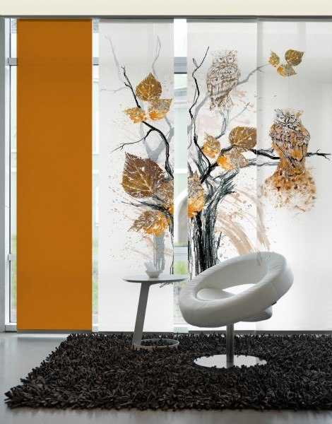3-teiliger Flächen-Schiebevorhang Emotion Textiles Eule kupfer/braun 180 x 260 cm