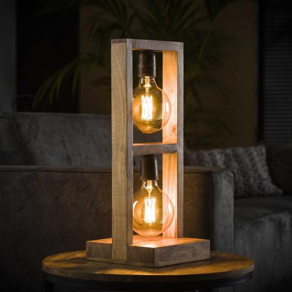 """Tischlampe """"Etowah"""" 2 Lampen Akazienholz Lampe 23x23x58cm (B/T/H) Industrial Style Zijlstra"""
