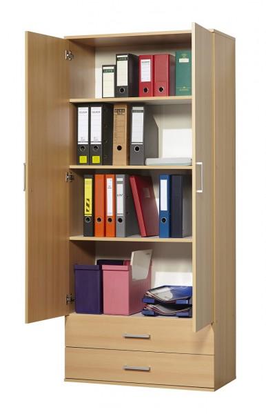 """Funktionsschrank """"Tim"""", Buche Dekor, 2 Türen, 2 Schubladen, 80 x 178 x 39 cm"""