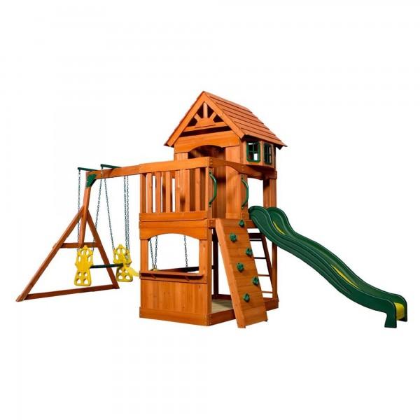 """Holzspielhaus """"Tasso"""" inkl. Leiter + Rutsche + Sandkasten + Schaukel 236,2x551,2x284,5cm"""
