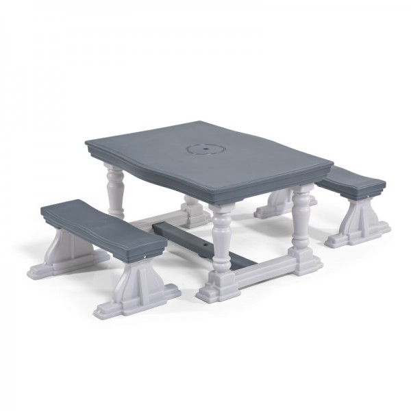 """3-teiliges Set Kindertisch """"Rice"""" Kunststoff grau Tisch 48x91x50cm Bank 41x90x28cm"""