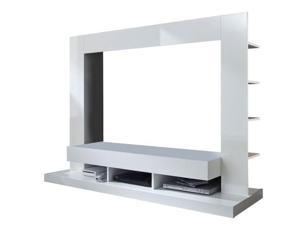 Wohnwand 'San Diego', Mediawand, TV-Wand, Hochglanz weiss, 164x124x46cm