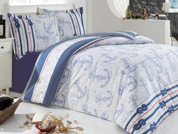 """Irya 4-tlg. Renforcé Bettwäschen-Set """"Pembrokeshire"""" in Übergrösse 200x220 cm blau"""