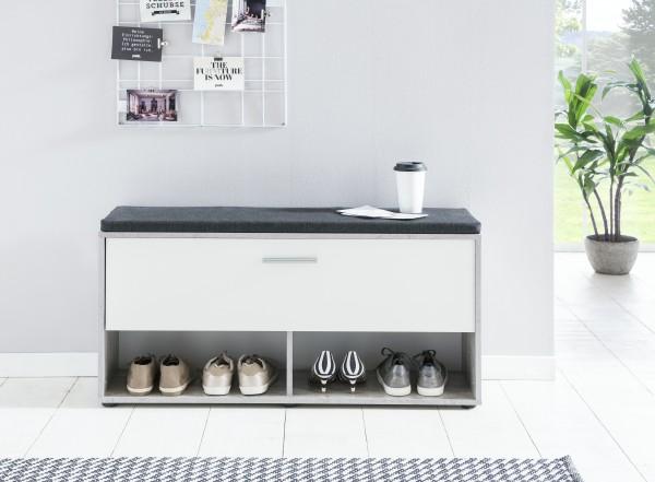 """Schuhregal """"Antonio 1"""", Beton/weiß, 103,5 x 54 x 30 cm, mit Klappe, mit Sitzpolster grafit"""