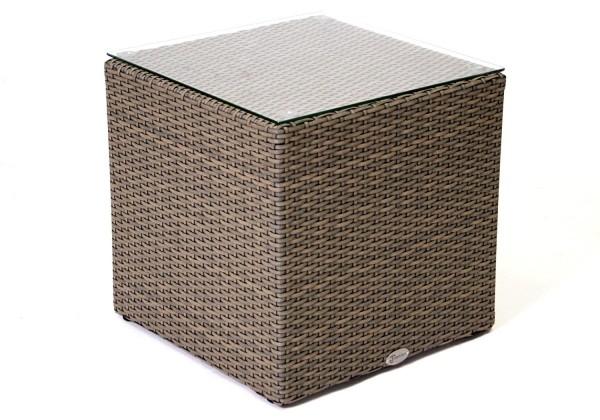 """Beisteltisch """"Smalland"""" Rattan Glasplatte 45x45 cm braun grau Tisch Gartentisch"""