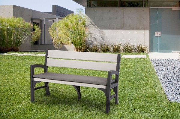 "Gartenbank 3-Sitzer ""Noah"" 150x62x89cm Kunststoff graphit/grau Sitzbank Gartenmöbel Sitzmöbel"