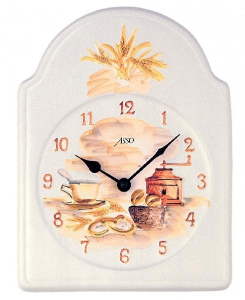"""Wanduhr Quartzuhr """"Breakfast"""", Keramik, handbemalt, Küche, Esszimmer, Diele, Flur, 20x27x4 cm"""