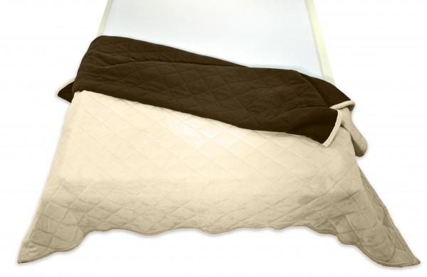 """Tagesdecke """"Bella"""" beige Wendeoptik Rautensteppung Polyester Microfaser-Nicky Plüsch 220x240cm"""