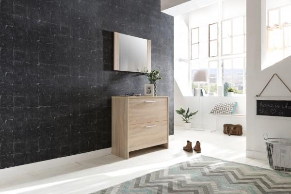 """Dielenset """"Theo 2"""", Sonoma Eiche, 2-teilig, Schuhschrank, Wandspiegel"""