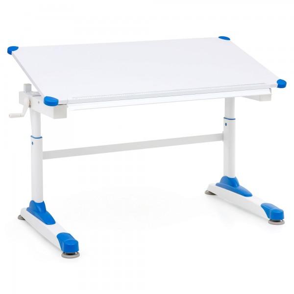 """Schreibtisch """"Melanie"""" weiß blau Puvlerbeschichtung 119x67x58-85,5cm Kinderschreibtisch"""