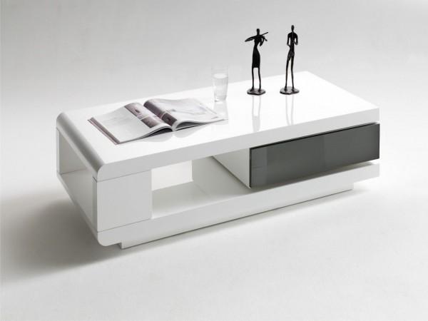 """Couchtisch """"Valencia II"""" - Lacktisch Hochglanz weiss und grau Schublade drehbar 120x36x60"""